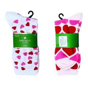3 KATE SPADE Pink Red White Heart Crew Socks NWT